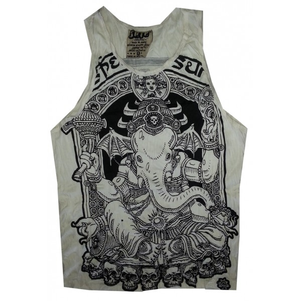 Ganesh Skull Head motif man tank top shirt Sure Brand  M size- Various Color!