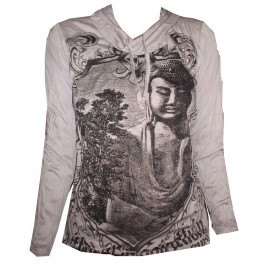 Buddha in Mirror Meditation motif Hoodie FREE SIZE (S-M) Various Color Sure!