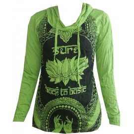 Lotus Hands Yoga motif Hoodie FREE SIZE (S-M) Various Color Sure!
