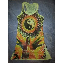 Eyes Peace Sun Meditation motif tunic Sure brand S size various colors 100% cotton!