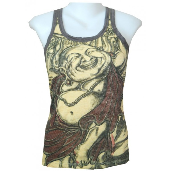 Buddha smile lady shirt tank top free size Weed by Sure