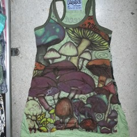 Weed By Sure Magic Mushroom Tunic sleeveless dress very attractive with quality print!